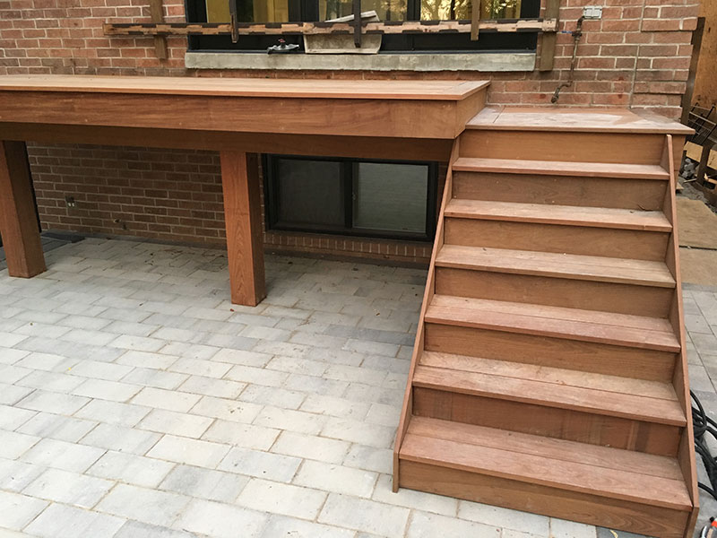 New wooden deck steps