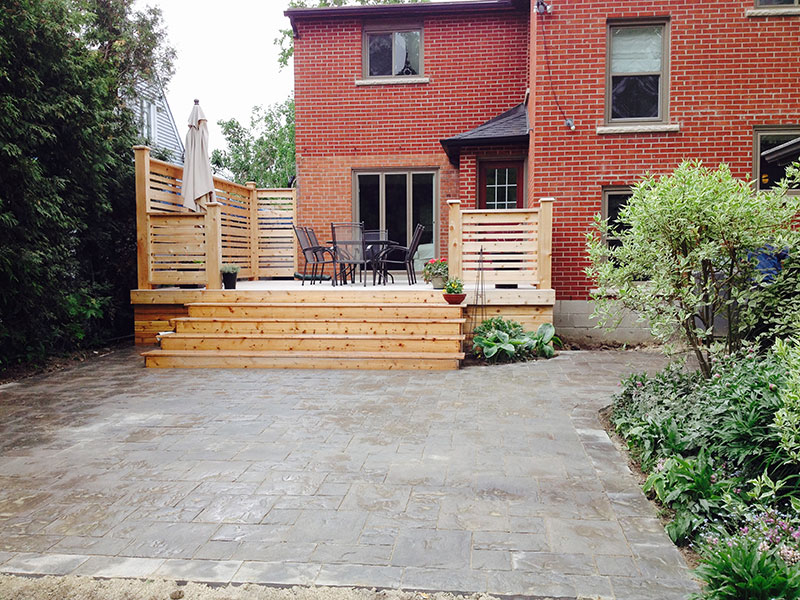 Wooden deck with fences