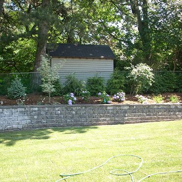 Retaining walls in backyard