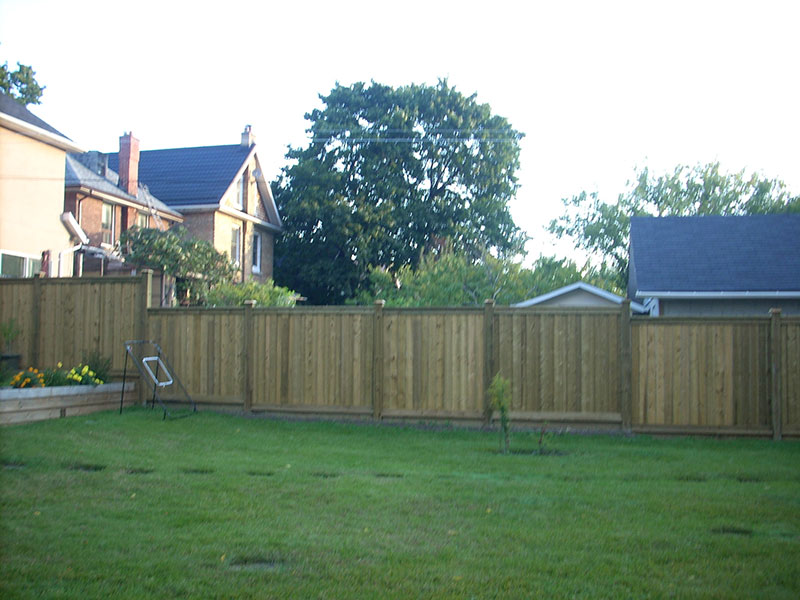 Wooden fences in the backyard