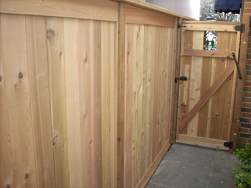 New wooden fences with locks