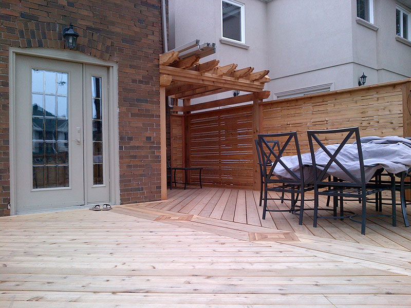 Wooden fences in patio