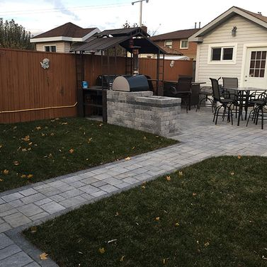 Interlocking pathway in backyard 6