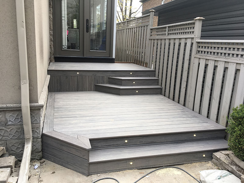 Wooden deck at the back of the house