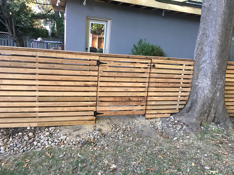 New wooden fences in the backyard